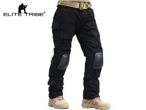 Men Military Airsoft Hunting BDU Pants Combat Gen2 Tactical Pants with Knee Pads Black